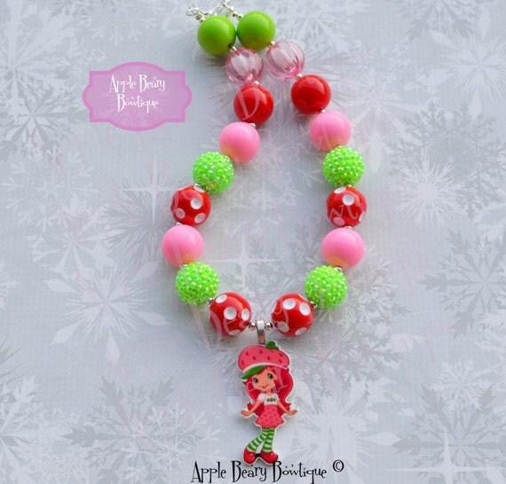 Items similar to strawberry shortcake necklace strawberry for Strawberry shortcake necklace jewelry