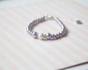 Baby- GIrl Bracelet - Handmade - Glitter sparkle with light Purple glass pearls and heart link extension -  Soft Purple Baby - Girl Bracelet