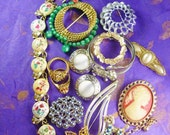 Vintage Costume Jewelry lot Women's Fashions from wrist to Ears includes Signed Pieces Brooch Bracelet ring earrings