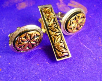 Vintage Glass Cufflinks Czech molded gold and black relief set wedding jewelry
