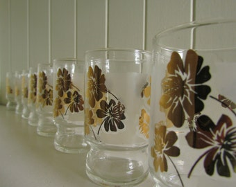 Eight Gilded Cosmos Juice Glasses