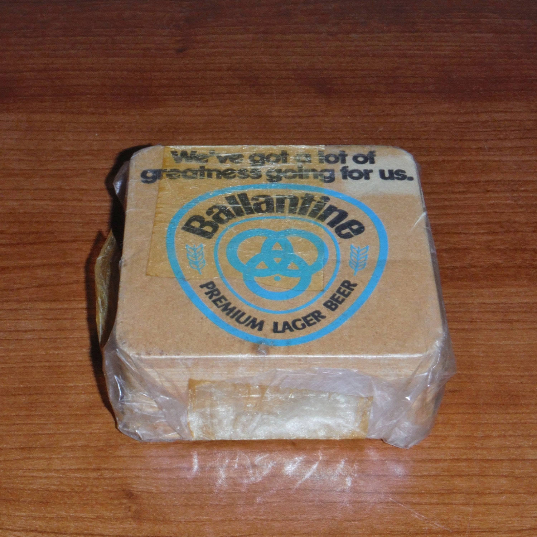 Vintage 60s square cardboard ballantine bar bear coasters - Cardboard beer coasters ...