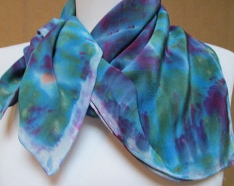Indigo blue Silk scarf accessory hand painted crepe de chine square, handmade NY Hudson Valley,  one of a kind unique gift woman