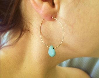 Gold Hoop earrings, turquoise hoop earrings, extra large hoop earrings, gold drop earrings, silver hoops, everyday earring
