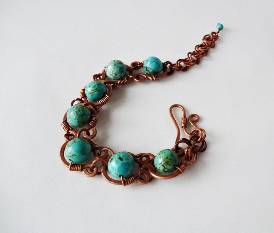 Handmade Copper Bracelet, Framed Turquoise Bracelet, Wire jewelry ...