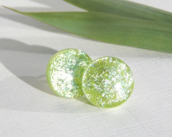 Green and Silver Dichroic Glass Stud Earrings - Fused Glass Jewelry - Glass Post Earrings on 925 Sterling Silver