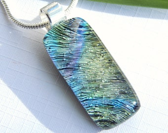 Dichroic Glass Pendant - Pastel Fused Glass Jewelry - Glass Necklace