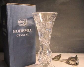 Boxed Bohemia Crystal 6 inch Bud Vase czechoslovakia Sparkling Crystal Vase Boxed Gift Idea Czech Crystal Centerpiece  Hostess Gift