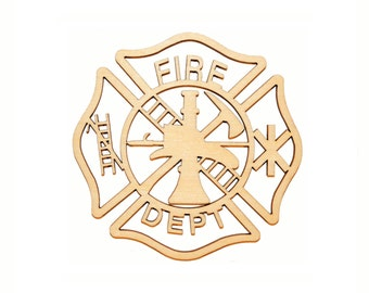 Fireman Maltese Cross Wood Cut Out Unfinished Firefighter Wooden Crosses part 050