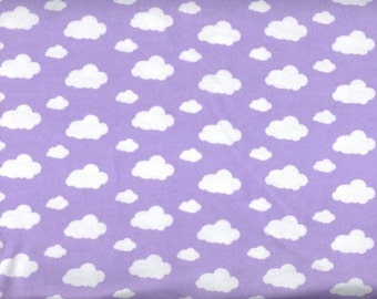 Dreamy Clouds Flannel Fabric - purple sky white clouds - David Textiles Dreamland Flannel Basics - by the YARD