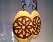 Brown Flower Paper Earrings Dangle Yellow Beige Brown Flower Design Hypoallergenic hooks Lightweight Ear rings