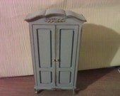 Dolls house blue  wardrobe painted in Blue with gold finish for a French chic style miniature bedroom for dollhouse