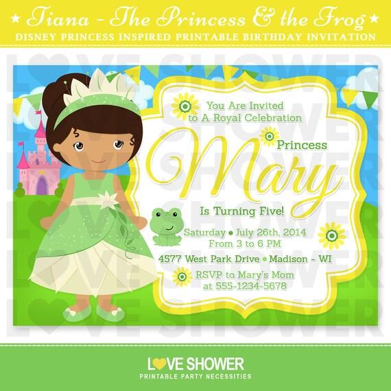 Princess tiana princess and the frog inspired birthday invitation il570xn filmwisefo