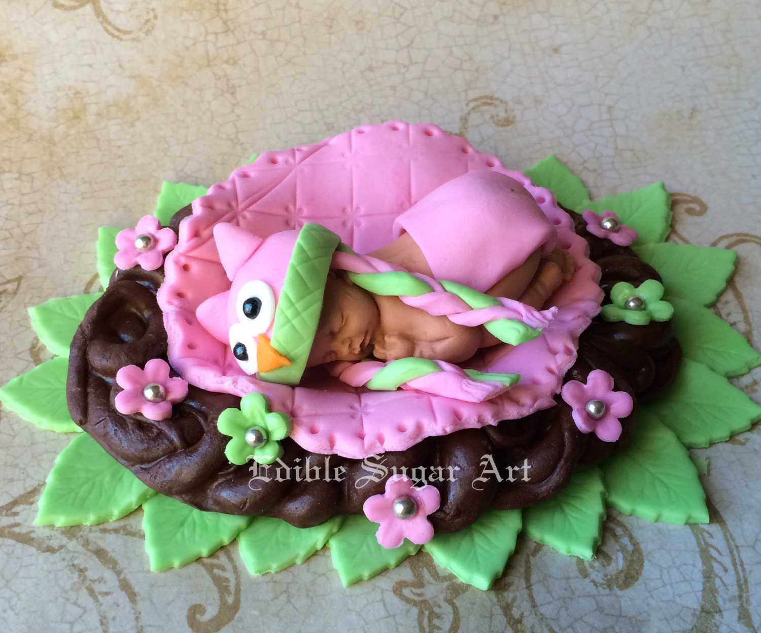 OWL BABY SHOWER Cake topper Fondant owl knitted hat First