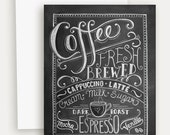 Coffee Lover's Card - Hand Lettered Note Card  - Blackboard Card - Chalkboard Art - Unique Card - Chalk Art