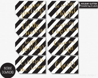 Black and Gold Christmas Tags Printable Instant Download Holiday Hang Tags Digital Labels Stripes
