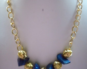 Chunky Purple Blue Electroplated Quartz Crystal Nuggets and Gold Wire Bead Necklace