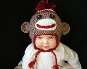 Crochet Sock Monkey Hat for Babies