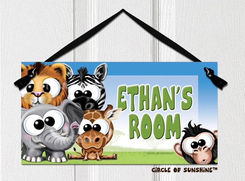 Safari Door Sign Name Personalized Home Decor Office