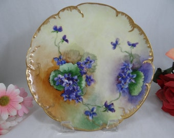 1880s Hand Painted Limoges France Haviland & Cie Hand Painted Violet Plate