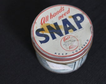 Vintage Red White Blue Sll Hands Need Snap Hand Cleaner Tin