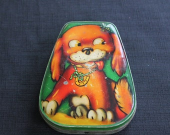 Vintage Horner Candy Toffee Chocolate Tin Brown Dog