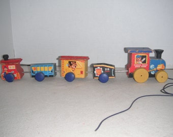 Wood block pull toy train, 1950's