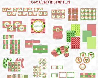 Instant Download - ON SALE 50% - HUGE Christmas Printable Party Package