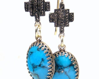 Turquoise Cross Earrings  Bohemian Jewelry turquoise earrings gold earrings dangle earrings southwest earrings