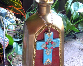 Turquoise Cross Bottle Bohemian Decor Home Decor