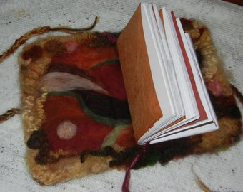 Autumn Colors Needle Felted Journal - art book - functional art - natural fibers - Item 7-1001
