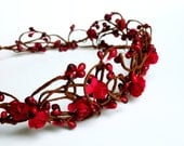 Red Woodland Crown, Woodland Bridal Hair Wreath, Red elven flower crown , Bridal head wreath, red flower hair accessory
