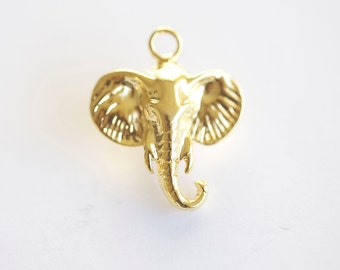 Vermeil Gold Elephant Head Charm - 18k gold plated over 925 silver, animal pendant