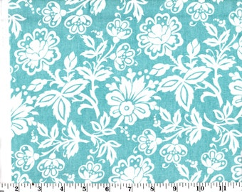 1 Yard, Kimberly White Floral on Blue Cotton
