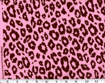 1 Yard, Brown Leopard Print on Pink Cotton