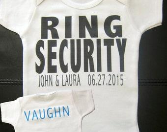 Personalized RING SECURITY ring bearer t-shirt or onesie wedding getting married bride groom