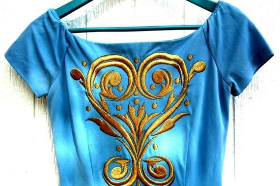 Blue embroidered dress Vintage cobalt gold fancy dressy elegant unique evening party cocktail