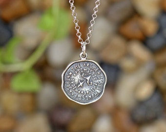 Sagittarius Key Word Pendant of Astrology Zodiac Sign, Birthday gifts, Sterling Silver Chain Included.