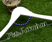 Wedding Hanger, lace bow wire name Hanger,  Personalized Custom Bridal Hanger, Bridal Hanger, Bride name hanger p01