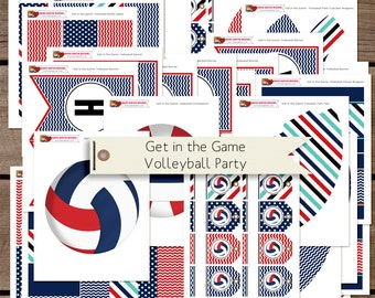 Get in the Game: Volleyball Printable Birthday Party Decorations INSTANT DOWNLOAD