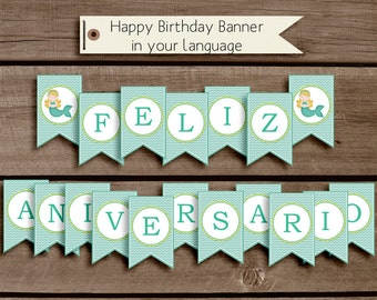 Happy Birthday Banner in your choice of language - Personalization - Custom - birthday printable - Build your Party - Personalization