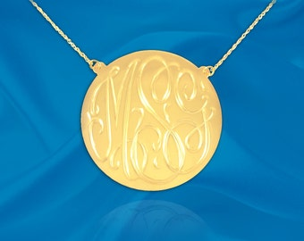 Monogram Initial Necklace - .75 inch Sterling silver 24k gold plated Personalized Monogram - Made in USA