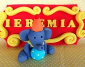 Fondant circus animals, fondant circus elephant, fondant circus cake topper, carnival, fondant name plaque, name blocks, circus tent