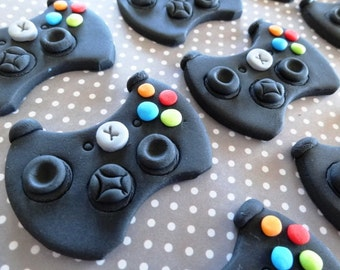 """12 Fondant 3D """"XBox"""" or """"PS4"""" inspired game controllers, game controller cupcake toppers, edible game controller,boy themed birthday party"""