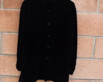 Black Blouse // Dress shirt // Party Blouse // Vintage Blouse // Long Sleeve Shirt // Valerie Stevens