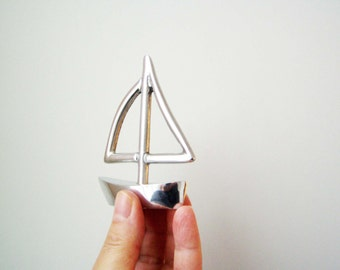 Aluminum Greek miniature sailboat, outlined sail, Greek sailboat sculpture, silver miniature sailboat sculpture, made to order
