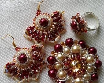 Jewellery set Andromeda pearls Rivoli crystals superduo