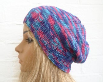 Sale, Hand Knit Hat, Women's Cotton Bamboo Slouchy Beanie Hat, Hand Knitted Oversized Beanie, Blue Pink Knit Hat, ClickClackKnits