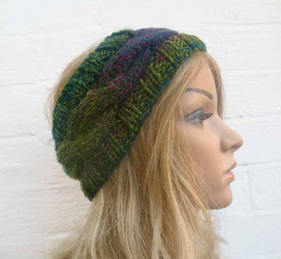 Hand Knit Headband Earwarmer, Cabled Green Purple Headwrap, Womens Braided Headband, Accessories, Acrylic, Clickclackknits