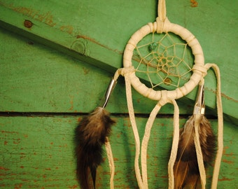 tiny white Native American Made beautiful vintage dreamcatcher leather feather turquoise stone dream catcher signed MADE IN AMERICA vintage
